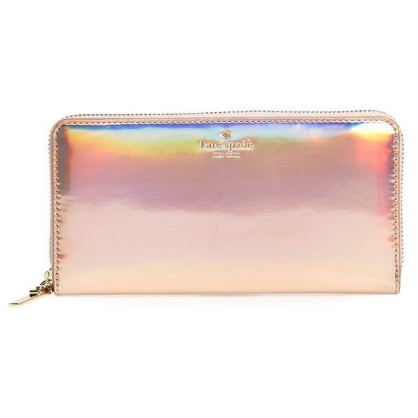Women's Kate Spade New York Rainer Lane Lacey Wallet ($158) ❤ liked on Polyvore featuring bags, wallets, rose gold, kate spade, kate spade bags, hologram wallet, zip-around wallet and kate spade wallet