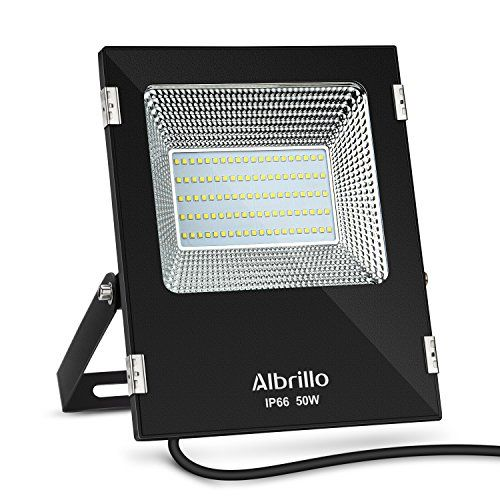 Albrillo Outdoor Flood Light 50W, 300 Watt Equivalent, 4000lm, Daylight White 6000K, Waterproof IP6, LED Security Lights - 180 Degree Flexible Bracket & 120 Degree Wide AngleThe outdoor led flood lights come with 180 degree adjustable metal bracket which allows you to mount it in ceiling, wall, ground, etc.No Shadow and No dazzle, bringing bright 120 wide angle illumination area. 18 Month Warranty: Albrillo offer 18 ...