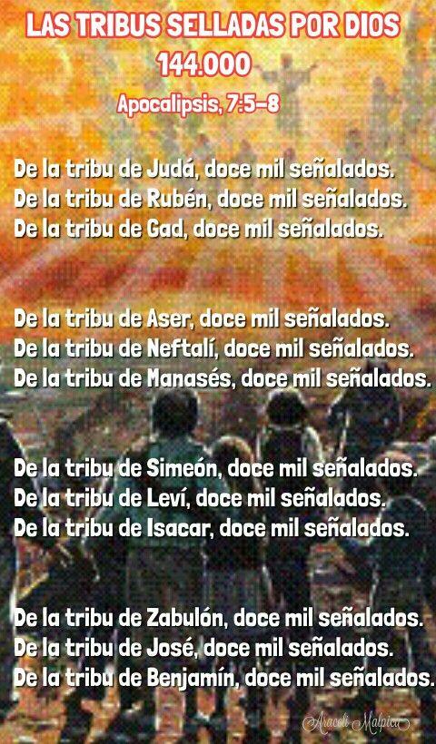 apocalipsis, 7:5-8  De la tribu de Judá, doce mil señalados.  De la tribu de Rubén, doce mil señalados. De la tribu de Gad, doce mil señalados.  De la tribu de Aser, doce mil señalados.  De la tribu de Neftalí, doce mil señalados.  De la tribu de Manasés, doce mil señalados.  De la tribu de Simeón, doce mil señalados. De la tribu de Leví, doce mil señalados.  De la tribu de Isacar, doce mil señalados.  De la tribu de Zabulón, doce mil señalados. De la tribu de José, doce mil señalados.  De…