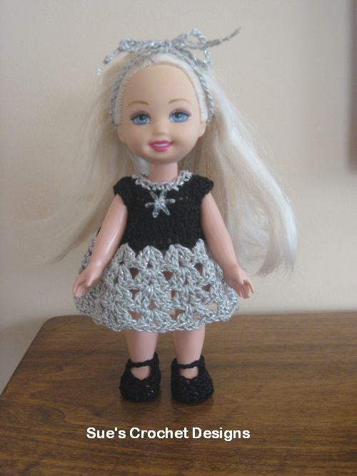 "Crochet 6"" Kelly Doll Out for the Evening dress Set - Just gorgeous - 10 thread"