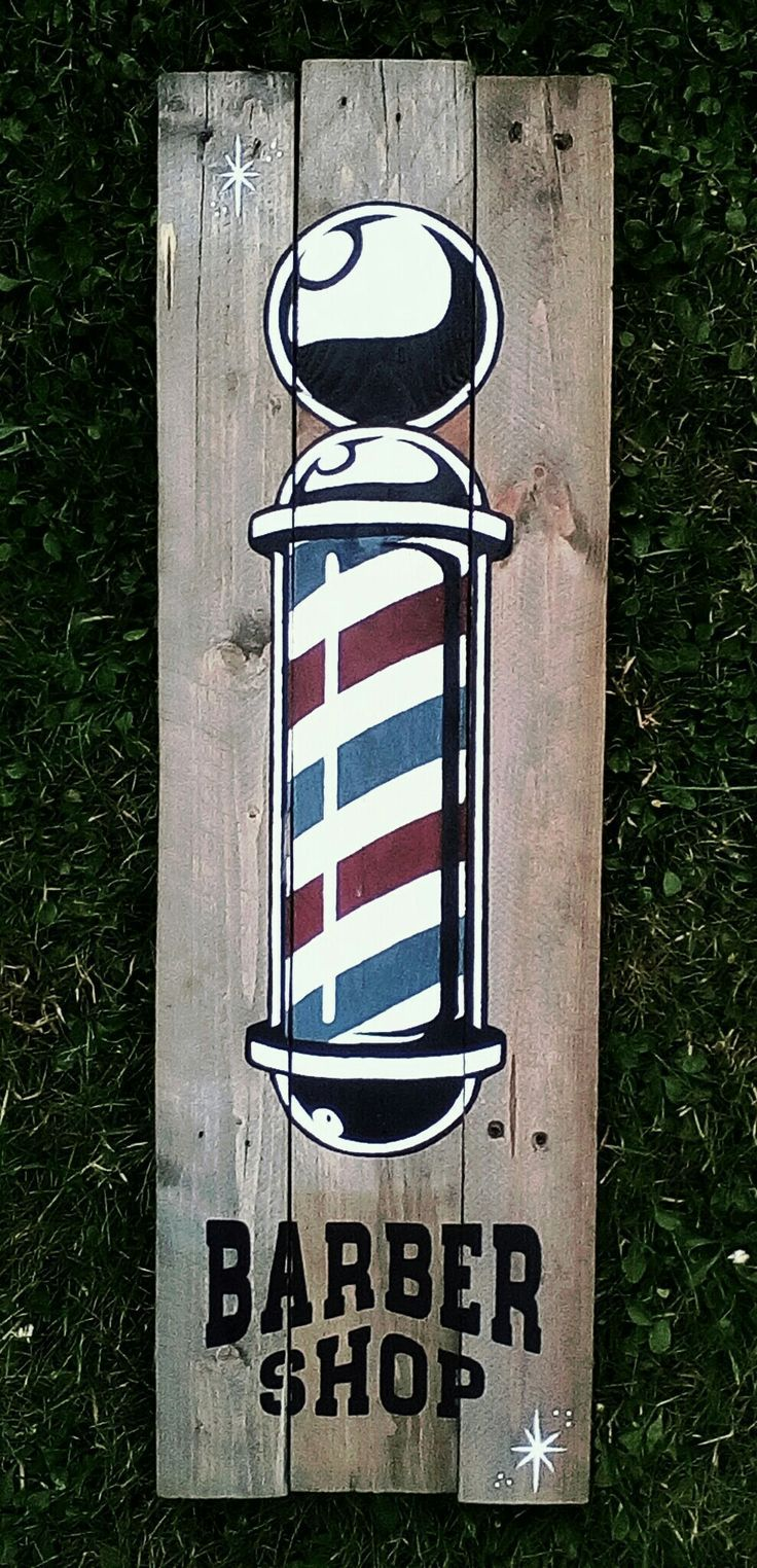 Barber shop pole distressed wall decal vintage style wall decor ebay - Ginie Barber Shop 80x25cm