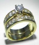 18ct gold diamond wedding set