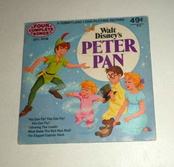 Vintage Record Peter Pan Disney Record Peter Pan by carriesattic