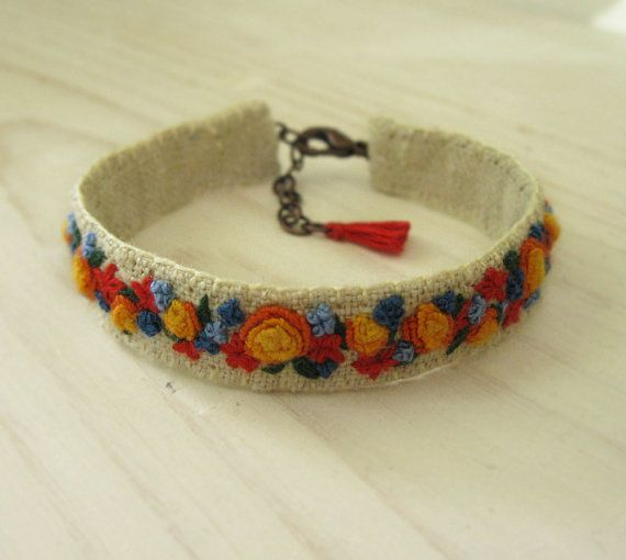 Colorful Floral Hand Embroidered Cuff Bracelet by Sidereal on Etsy, $48.00