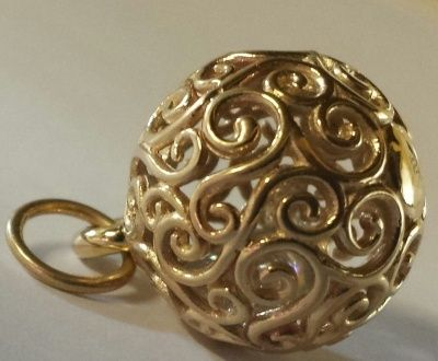 Pendant - FILIGREE TINKLE BALL - 9ct Gold