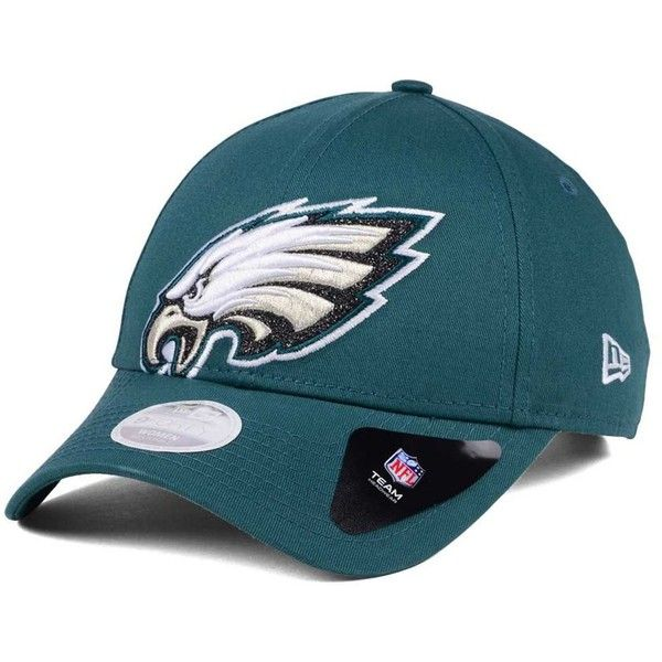 New Era Women's Philadelphia Eagles Glitter Glam 9TWENTY Strapback Cap ($27) ❤ liked on Polyvore featuring accessories, hats, green, philadelphia eagles cap, nfl caps, philadelphia eagles hat, green hat and new era cap