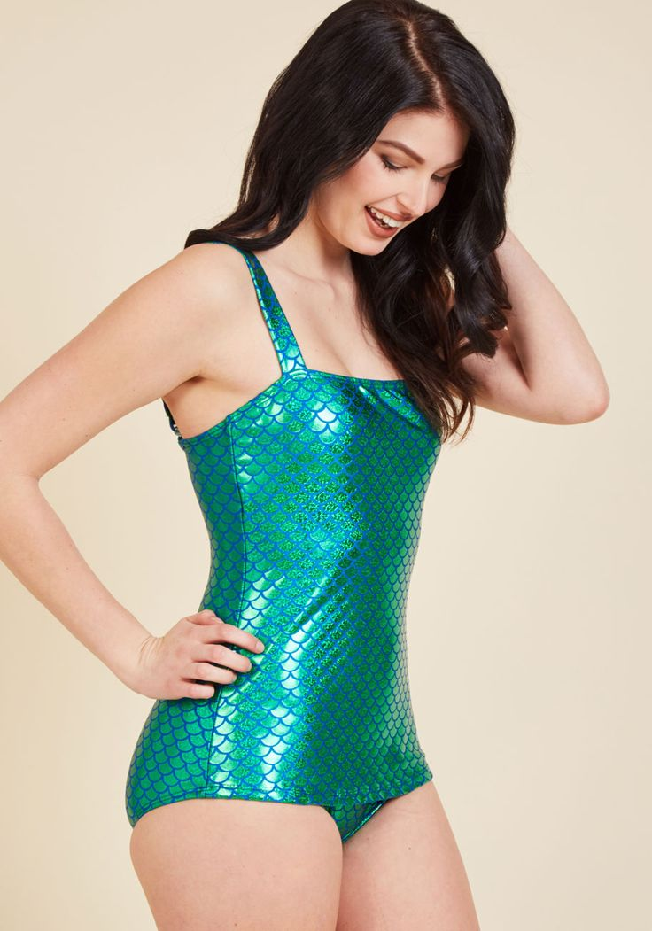 Oceanic Enchantress One-Piece Swimsuit. You'll feel one with the sea's exotic species when you dive through waves in this Esther Williams bathing suit! #green #modcloth