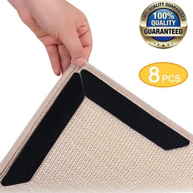 8pcs Rug Grippers Tape Anti Slip Rug Pad Gripper Stops Carpet Slipping Make Corners Flat Bathroom Premium Rug Renewable Grippers R Rug Pad Cheap Bath Mats Rugs