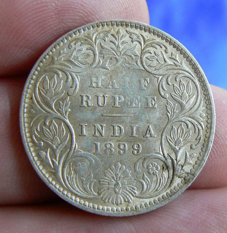 SCARCE INDIA HALF RUPEE COIN 1899  B  RETROGRADE INCUSE WITH LUSTRE