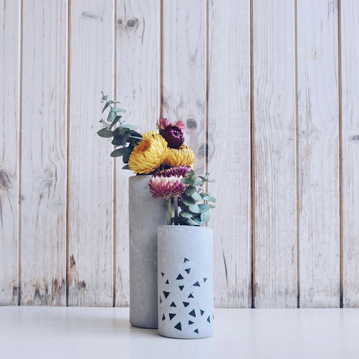 concrete vases by twin