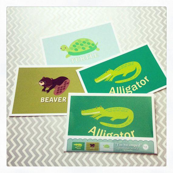 I'm Swamped Set of 3 Alligator Beaver & Turtle by lifelonglove