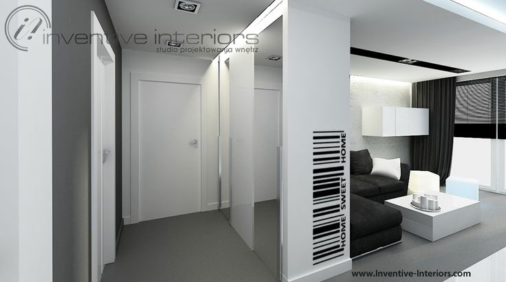 projekt przedpokoju inventive interiors bia o szary przedpok j otwarty na salon w. Black Bedroom Furniture Sets. Home Design Ideas