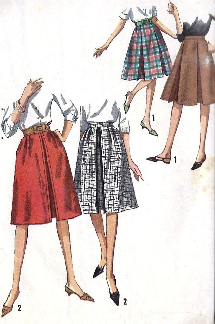 "1960s Misses A Line Skirt Vintage Sewing Pattern, In 2 Styles, Office Fashion, School Fashion, Simplicity 5117, waist 26"" hips 36"""