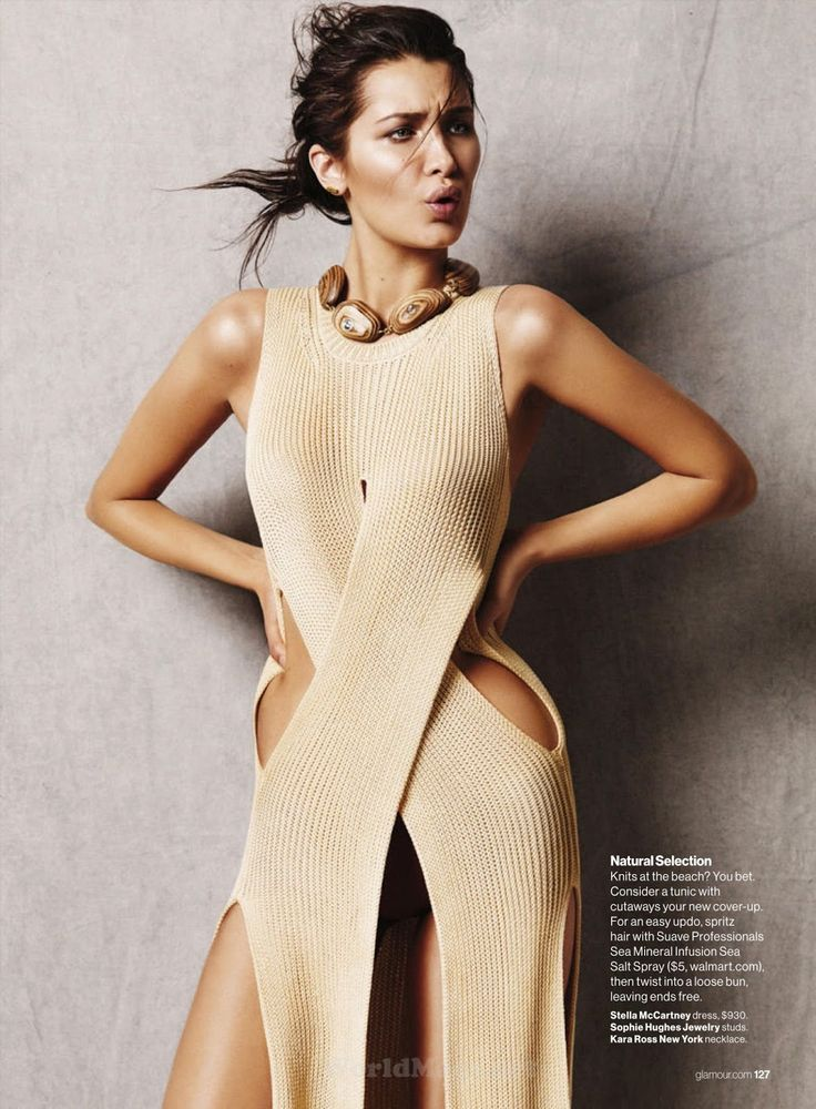 """""""She's Golden"""" Bella Hadid for Glamour US July 2015~ Stella McCartney. Def my favorite Hadid sis"""