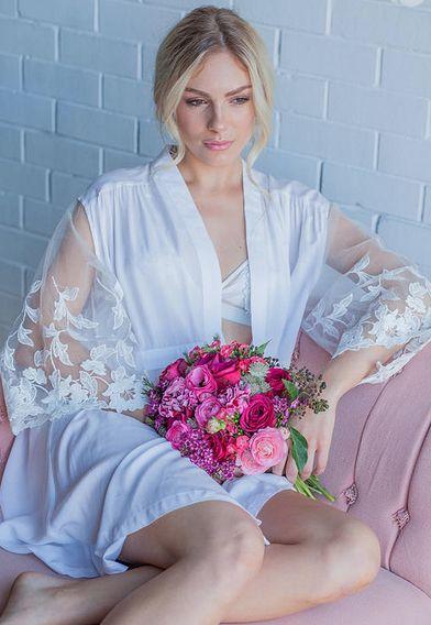 'WILD AT HEART' Bridal Robe 100% Rayon with sheer lace sleeves. We love bridal comfies and this bridal robe is a perfect wedding day keepsake. Bridal Robes   Bridesmaid Robes   Getting Ready Robes