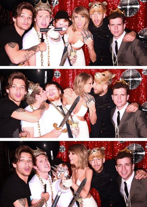 Louis Tomlinson, Niall Horan, Ed Sheeran, Taylor Swift, Calvin Harris, and Austin Swift after the BBMAs