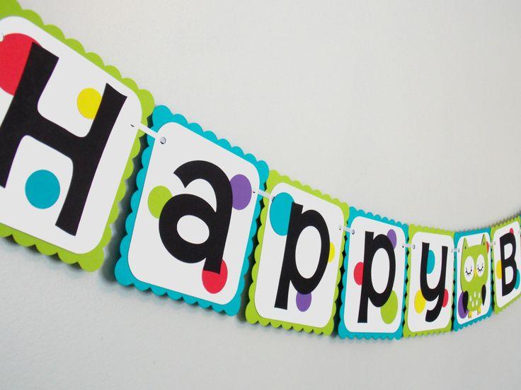 Owl Birthday Banner/ Gender Neutral Birthday/ Owl Birthday/ Owl Banner/ Girl Birthday/ Boy Birthday/ Baby Shower by Klutterella on Etsy