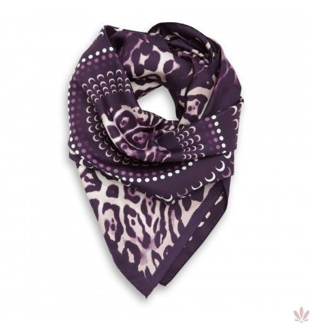 Caleido Leo Violet Square Scarf, 100% Twill Silk. Luxury high quality made in Italy by Fulards.com free shipping.