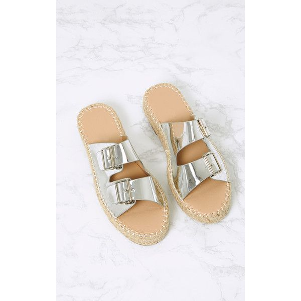 Madge Silver Metallic Espadrille Sandals ($26) ❤ liked on Polyvore featuring shoes, sandals, grey, grey slip on shoes, summer shoes, metallic shoes, grey sandals and slip on espadrilles