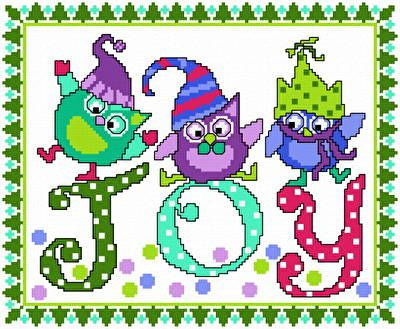 Holiday Blues - Owl cross stitch pattern designed by Ursula Michael. Category: Christmas.