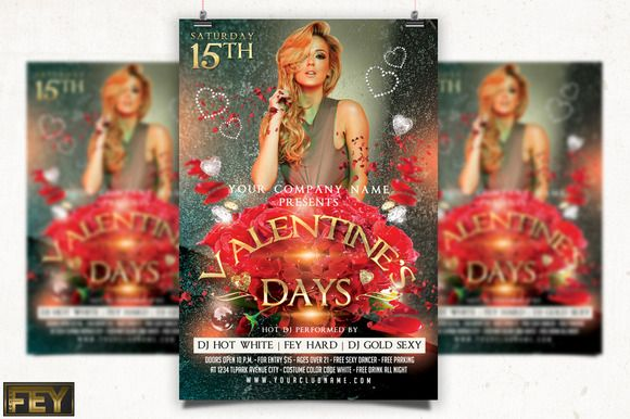 Valentines Day Party Flyer by feydesign on @creativemarket