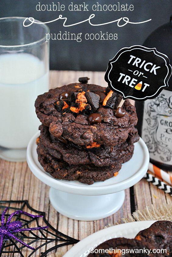 Double Dark Chocolate Oreo Pudding Cookies   www.somethingswanky.com