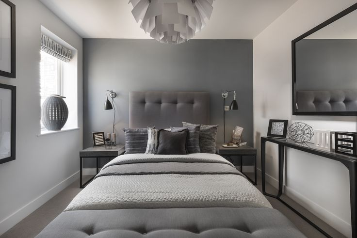 Contemporary bedroom in shades of grey created by Artspace Interior Design