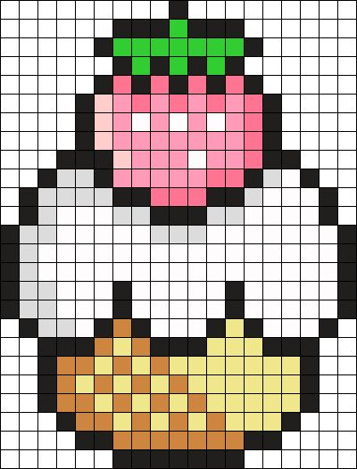 Strawberry Cake Perler Bead Pattern / Bead Sprite