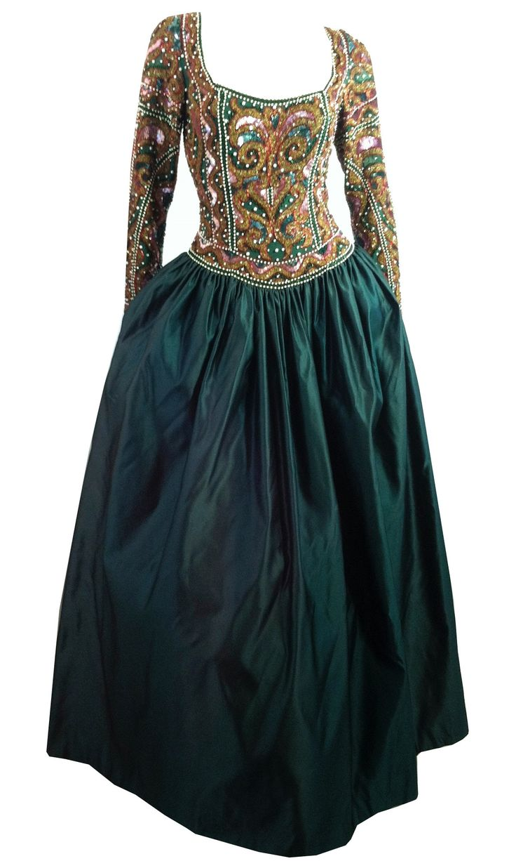 Exquisite Sequined and Beaded Bodice Silk Renaissance Style Gown circa 1980s Naeem Khan