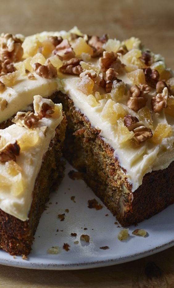 This is very different from the richly sweet, loftily layered and aerated American original. Nigella's carrot cake with ginger cream cheese icing can make a great pudding, too.