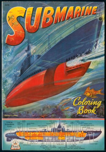 Uncolored WW2 SUBMARINE COLORING BOOK 3479 Merrill 1944
