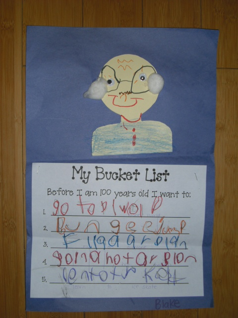 First Grade Craft ~My Bucket List 1. go to Disney world 2. bungee jump 3. fly an airplane 4. go in a hot air balloon 5. learn to ice skate