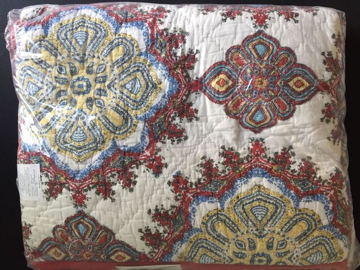 POTTERY BARN ADINA FULL/QUEEN QUILT NEW MEDALLION RED BLUE BOHEMIAN WEST ELM  | eBay