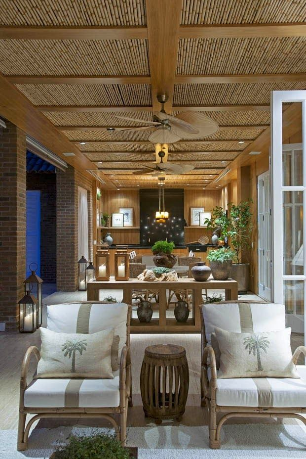 tropical style house - lots of wood, earth tiles, bamboo and handmade bricks