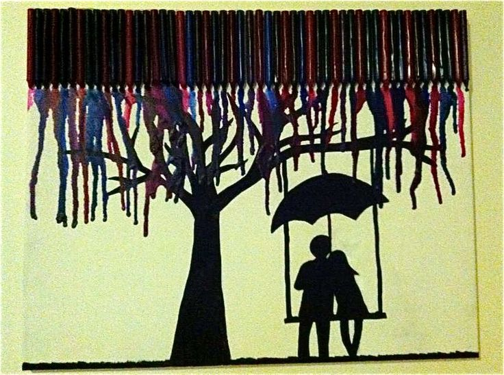 like the tree and swing.. but what if melted crayon were in greens and were the leaves + no umbrella on the swing?