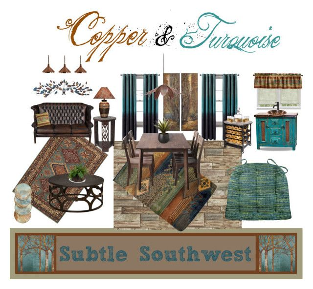 Subtle Southwest Set features Brisbane Teal Dining Chair Pads, Southwest Tucson Desert Pillows, & Southwest Tucson Desert valances by Barnett Home Decor with coordinating interior design in shades of turquoise and copper with hints of Santa Fe stylings #home #southwest #SantaFe