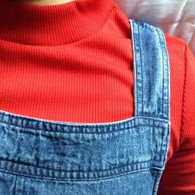 【overalls with a red shirt with a semi turtleneck thing that I don't know what it's called】
