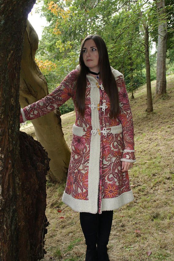 Vintage 70's Psychedelic Paisley Pattern Duffel Coat