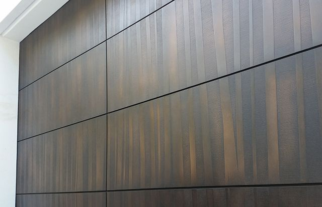 On the Bronze trend, the stunning garage door below is the result of a intimate collaboration between Axolotl's in house design team and client, whereby a unique tree-line vista is recreated in a textural brushed bronze. The 3-Dimensional design is created by hand, replicating the trunks of trees, and is accentuated by the Florentine ageing that offers natural variation in colour, complementing the earthen aesthetic.