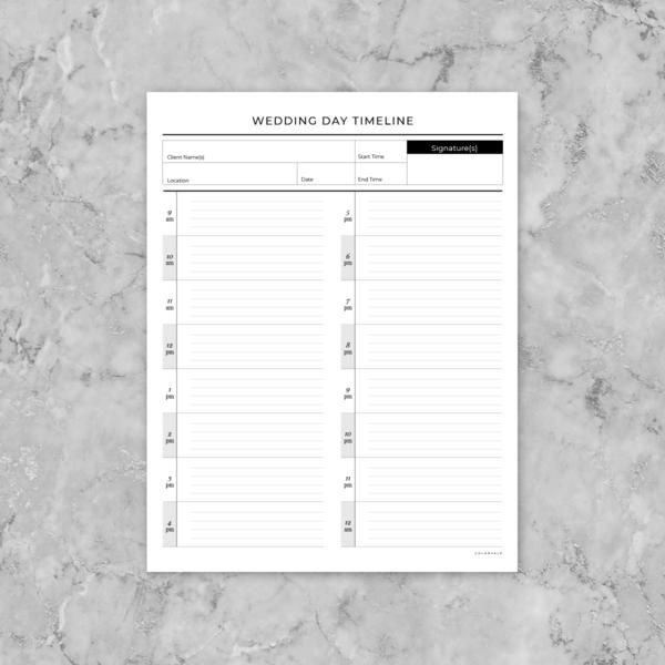 The short + sweet: If you are a wedding photographer this is perfect for you! This template will ensure that you have an exact timeline of events planned with your bride & groom. As a professional it is important to have everything needed for a day to run smoothly. Print this template for each upcoming wedding. The important deets: Build your own planner (one page per wedding session) 1 PDF document - 1 page (8.5x11in - standard U.S. page size) DOWNLOAD TO A COMPUTER (no phones or iPa...