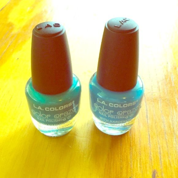 BOGO $5 COSMETICS - LA Color Craze Nail Polishes BRAND NEW LA Colors Color Craze Nail Polish bundle in cute blue (Aquatic) and teal (this listing is actually for Greek Isles which is the same shade as Atomic but with sparkles) colors! Never Used! Buy one $5 cosmetic listing and get another one free! Just be sure to comment on which listing you would like to be included FREE with your order! L.A. Colors Other