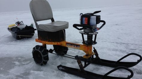 Dedicated winter anglers will travel long distances across frozen lakes, in order to reach prime ice-fishing spots. That's why Wisconsin-based sportsman Adam Ford created an ice-going go-kart that utilizes the motor of an ice auger, which the user would be carrying with them anyway.