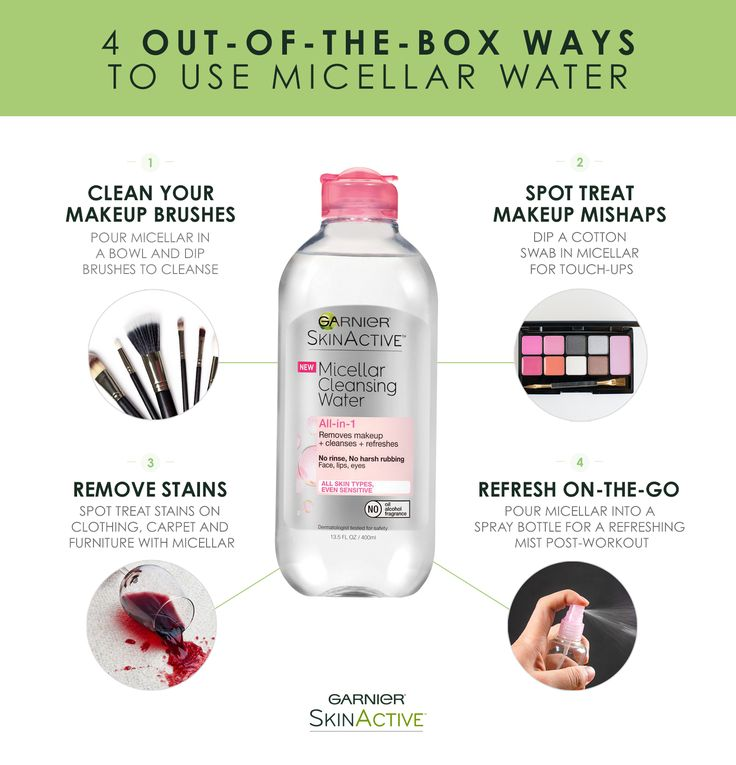 Want to get the most out of your Garnier Micellar Cleansing Water? Try these easy tips and tricks: Clean your makeup brushes; Spot treat makeup mishaps; Remove stains from clothing; Refresh on-the-go.