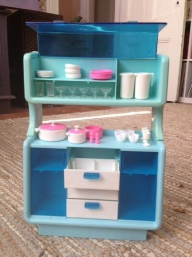 Vintage 1978 Barbie Dream House Furniture Dining Buffet China Cabinet | eBay - Still have this too, although missing the dinning table and chairs.