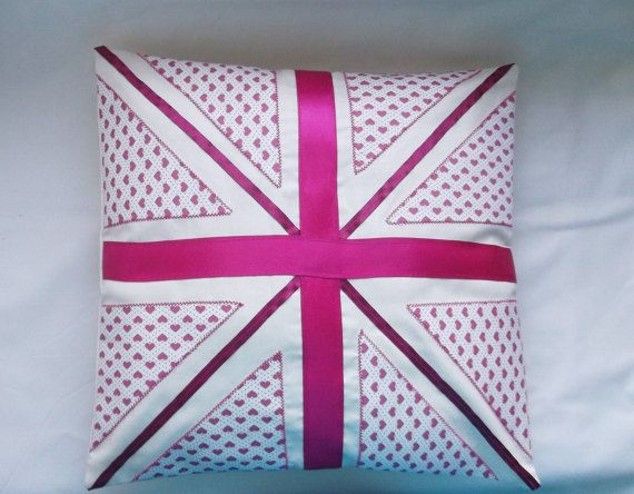 Pink British flag cushion Union Jack pillow by AlsCraftyCorner
