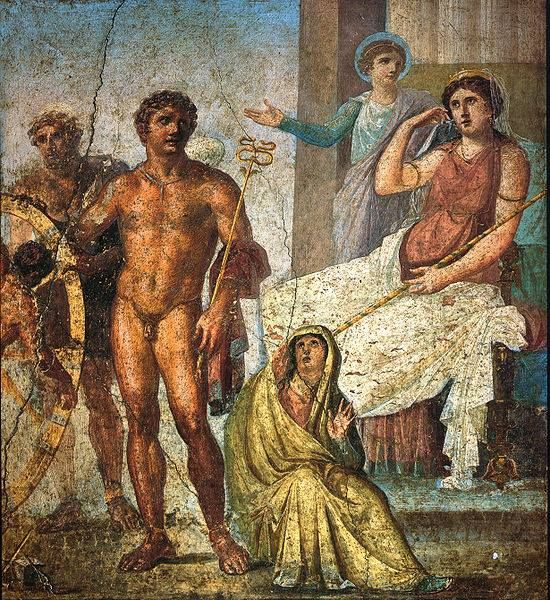 Pompeii: punishment of Ixion: 60-79 CE. This picture is on the central wall at the back of the reception room overlooking the garden: House of the Vettii. Ixion himself (attached to the wheel) can be seen in the far left of the painting