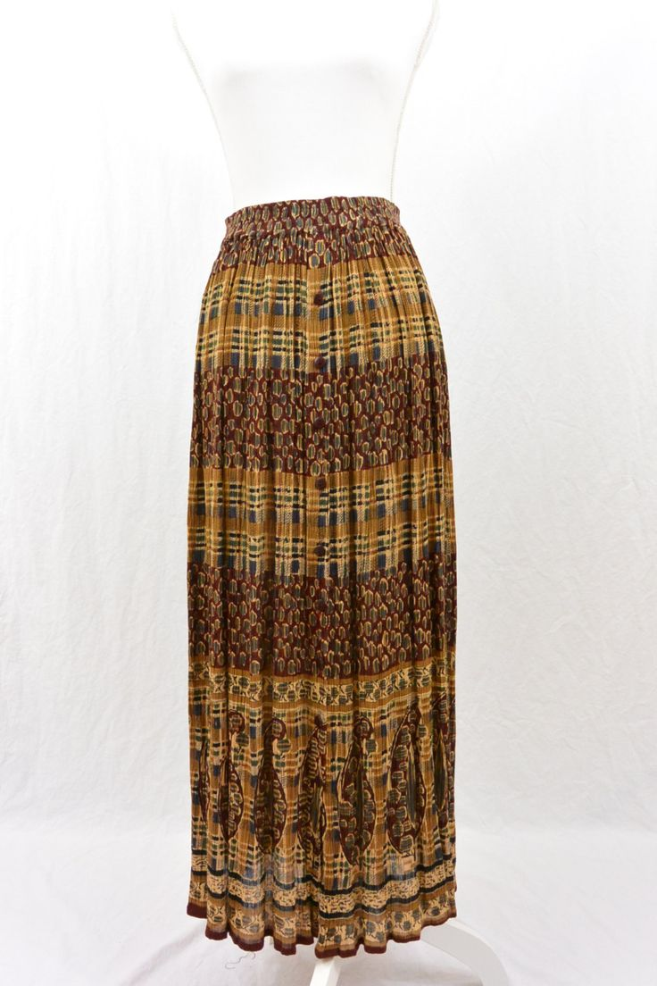 Vintage Maxi Skirt, Size Small, Paisley Print, Boho, Hippie, Broomstick Skirt, 90's Clothing, Button Down Skirt, Grunge, Plaid, Mixed Print by littleraisinvintage on Etsy
