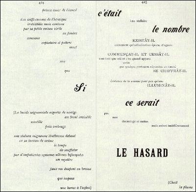 """""""Un coup de dés"""" é um poema de Stéphane Mallarmé publicado em 1897 na revista Cosmopolis e publicado em 1914 no The New revisão francês. Este foi o primeiro poema tipográfico (poesia visual)"""