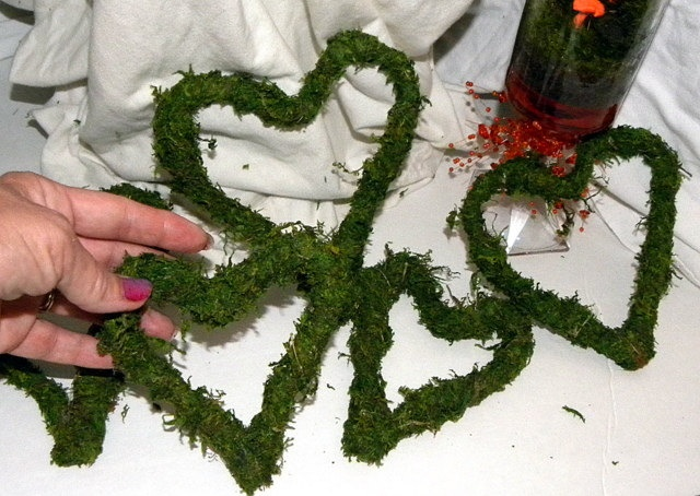 Mossy Hearts in 5 assorted sizes-Wedding decor-Woodland Garden Party decorations. $15.00, via Etsy.
