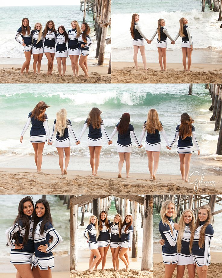 Newport Harbor High School Cheer Team Photography ~ Newport Beach Wedding, Newborn, and Family Portrait, Photographers in Orange County, Sailor Pride, Navy Blue, White, Gold, Pier, Waves, Sand, Barefoot, Fun, Girls, GilmoreStudios.com